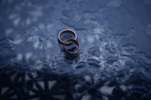 wedding rings left out in the rain