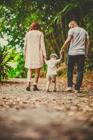 parents with walking with child